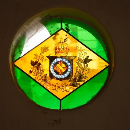 Bandeira brasileira do Primeiro Império, com o brasão de armas de Dom Pedro I criado por Debret / Flag of Brazilian First Empire, with the Emperor´s coat of arms created by Jean Baptiste Debret.